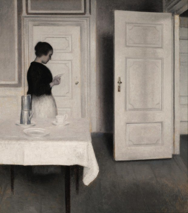 Vilhelm Hammershøi, Ida Reading a Letter, 1899, private collection