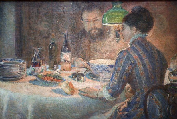 Marie Bracquemond, Under the Lamp, Private Collection, 1887