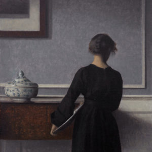 Vilhelm Hammershøi, Interior with Young Woman Seen from the Back, c. 1903–04, Randers Museum of Art.