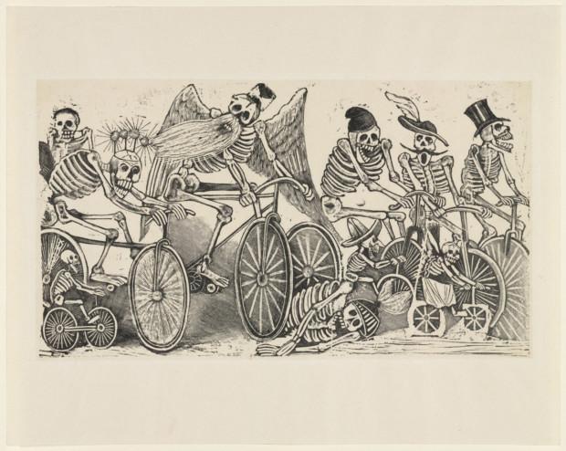 José-Guadalupe Posada, Calavera of the Cyclists (Calavera las biciletas),c. 1889-1895