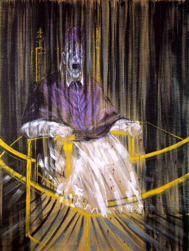 The Top 10 Strange and Bizarre Paintings: A dark, haunting take on a portrait of a Pope by Francis Bacon.
