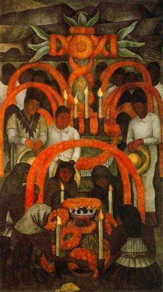 Diego Rivera, The sacrificial offering. Day of the Dead, 1924, Court of Fiestas, Mexico