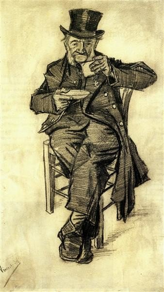 Vincent van Gogh, Orphan Man With A Top Hat Drinking Coffee, 1882, F. Hagemann Collection, Basel