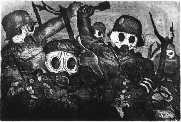 Otto Dix, Storm Troops Advance under Gas Attack, 1924