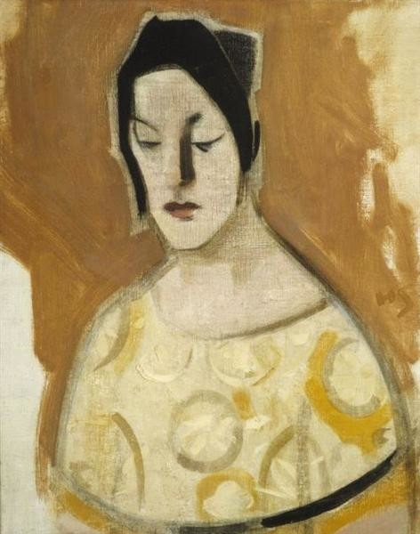 Helena Sofia Schjerfbeck, The Fortune Teller (Woman in a Yellow Dress), 1926
