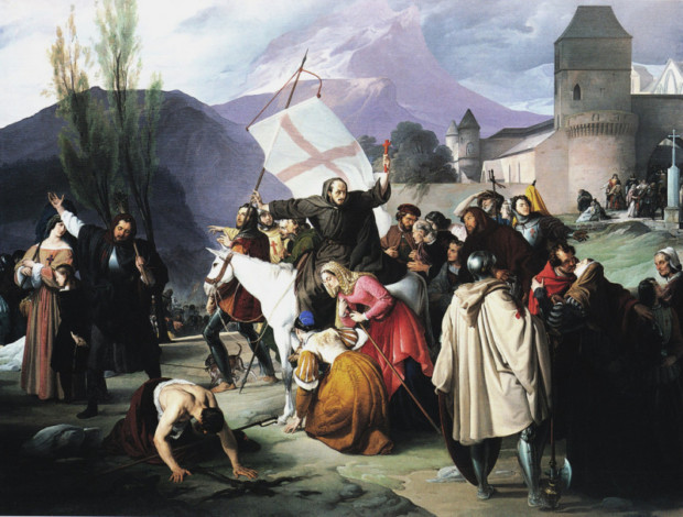 Francisco Hayez, Peter the Hermit riding a white mule with a crucifix in his hand and circulating through the cities and villages preaching the Crusade, 1827-29