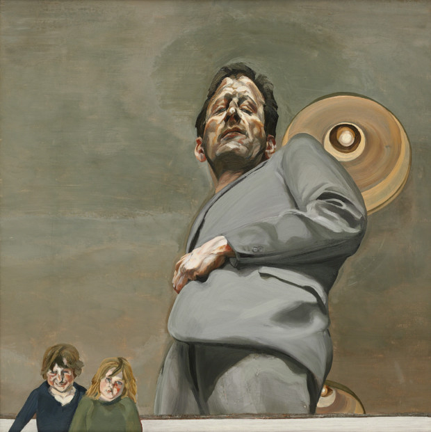GDK619776 Reflection with Two Children (Self Portrait), 1965 (oil on canvas) by Freud, Lucian (1922-2011); 91x91 cm; Private Collection; (add.info.: Rose and Ali (Alexander) Boyt, children of the artist.); © The Lucian Freud Archive The best of Lucian