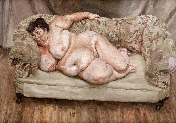 GDK619735 Benefits Supervisor Sleeping, 1995 (oil on canvas) by Freud, Lucian (1922-2011); 151.3x219 cm; Private Collection; (add.info.: Sue Tilley, Job centre supervisor and biographer of Leigh Bowery. Sold for 3,641,000 to Roman Abramovich in 2008, the most expensive work sold by a living artist at auction until 2012.); © The Lucian Freud Archive; PERMISSION REQUIRED TO LICENSE MORE THAN FIVE IMAGES BY THIS ARTIST IN A SINGLE PUBLICATION,REPRODUCTION PERMISSION REQUIRED – EXCEPTIONS APPLY (SEE NOTES); CANNOT BE LICENSED FOR PRINTS OR POSTERS; English, in copyright PLEASE NOTE: This image is protected by artist's copyright which needs to be cleared by you. If you require assistance in clearing permission we will be pleased to help you. In addition, we work with the owner of the image to clear permission. If you wish to reproduce this image, please inform us so we can clear permission for you.