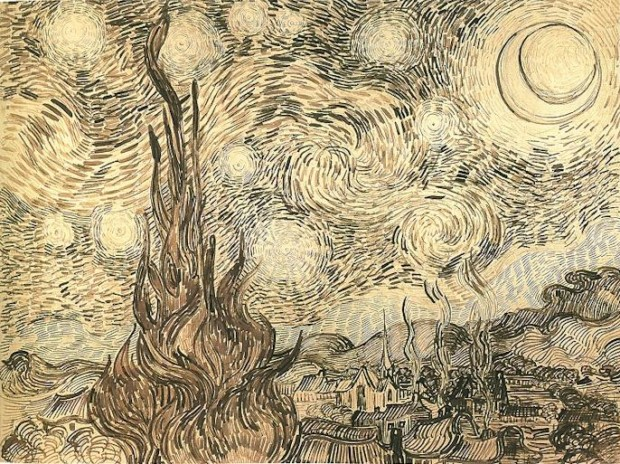 The drawing Cypresses in Starry Night, a reed pen copy executed by Van Gogh after the painting in 1889. Originally held at Kunsthalle Bremen, today part of the disputed Baldin Collection