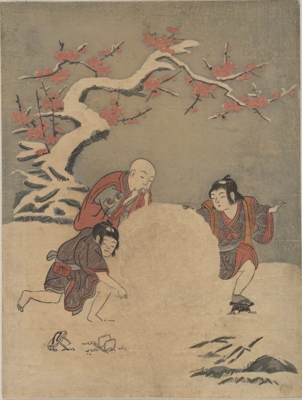 Suzuki Harunobu, Children rolling a large snowball, and eating some as they go. (Print by Suzuki Harunobu
