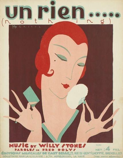 """""""Un Rien … (Nothing),"""" sheet music cover (1925), Éditions Musicales de l'Art Belge, Brussels"""
