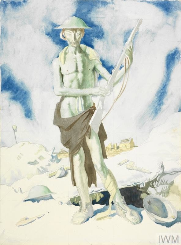 image: a full length depiction of a soldier, seemingly shell-shocked, standing in front of the edge of a dugout. It seems that his clothes have literally been blown away from his body, for he is naked but for a scrap of blanket across his hips, his boots and helmet. He stands in a classical pose holding the rifle delicately in his fingers and pointed away from his body. The ground is littered with... Copyright: © IWM. Original Source: https://www.iwm.org.uk/collections/item/object/20754