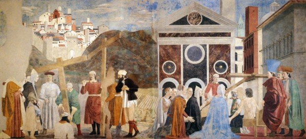 """Piero della Francesca, Fresco cycle of the """"Legend of the Holy Cross"""" in the choir of San Francesco in Arezzo, scene: visit of the Queen of Saba near Solomon Year of origin: 1452-1466"""