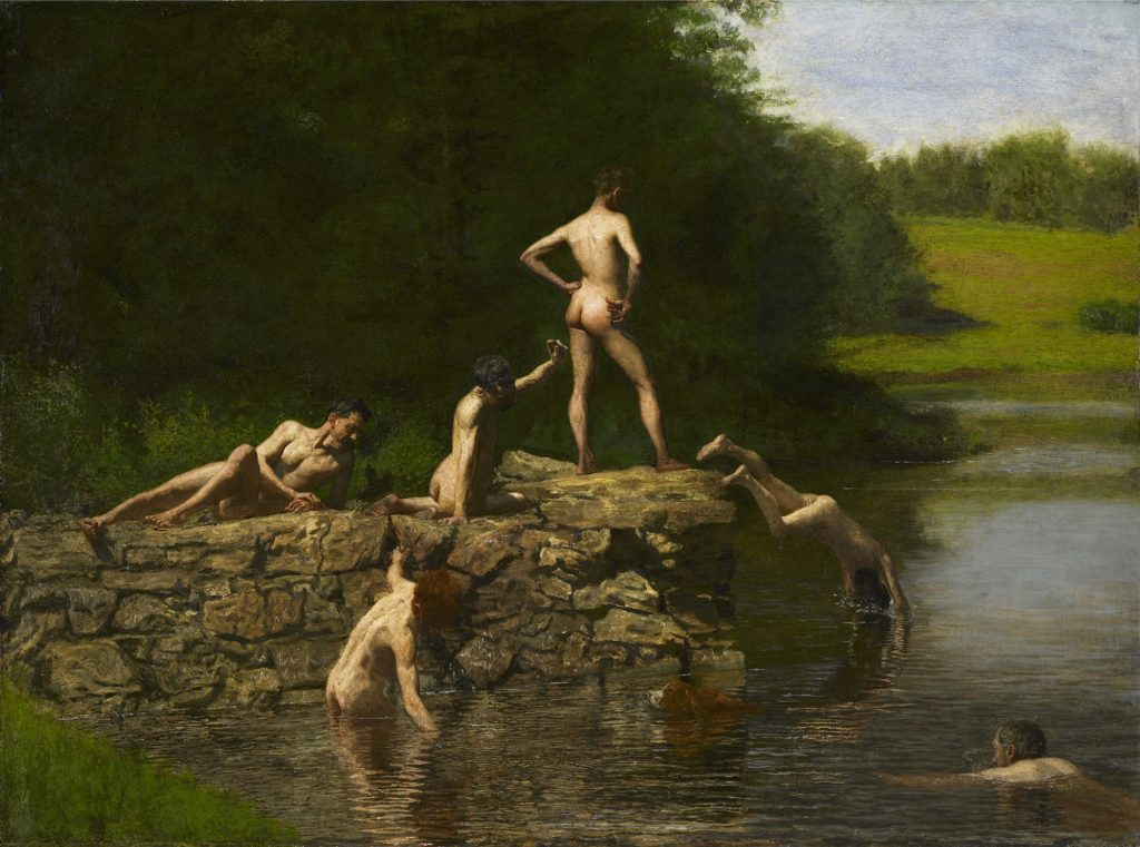 Best Bums in Art,  Thomas Eakins, The Swimming Hole, 1884–1885, Amon Carter Museum of American Art, Fort Worth, TX, USA.