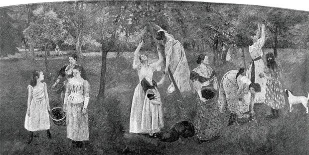 Central panel from Cassatt's mural. Scanned from a photo in Harper's New Monthly Magazine 86.516 (May 1893):837.