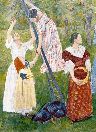 Mary Cassatt, Young Women Plucking the Fruits of Knowledge or Science, central panel of Modern Woman, colorized. Inside the Woman's Building: Allegories of Modern Women, Roan Barriss, Radford University, Radford, VA, USA.