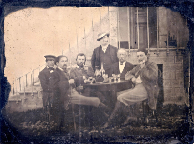 "Jules Antoine, Vincent Van Gogh in conversation with friends, Paris, 96 rue Blanche, December 1887, ""Gautier Martin"" stamp, recto."