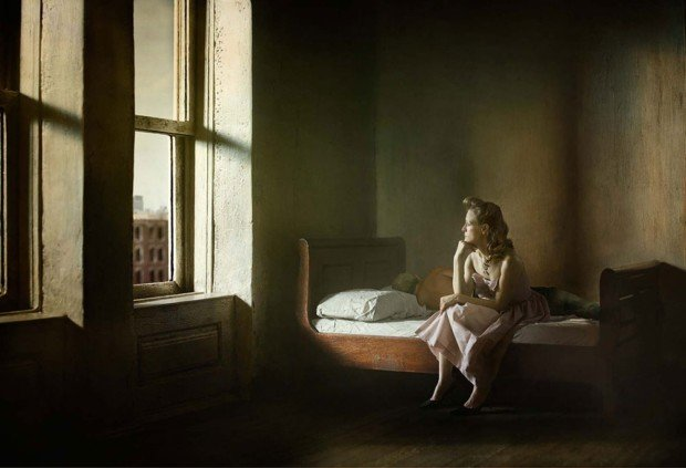 Richard Tuschman, Woman and Man on Bed, 2012, from series Hopper Meditations