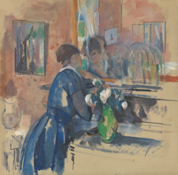 Lady in blue before a mirror, (1914), oil on canvas, 121 × 123 cm, Brussels, Royal Museums of Fine Arts of Belgium, inv. 8660, Mme Delporte-Livrauw and Dr. Franz Delporte bequest, Brussels, 1973 -1976 © Royal Museums of Fine Arts of Belgium, Brussels / photo : J. Geleyns - Ro scan