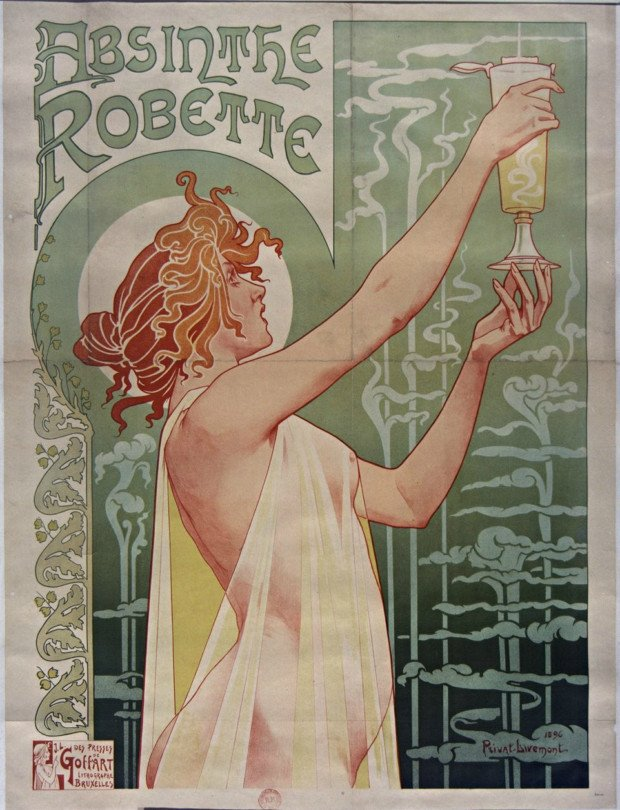 Poster for Absinthe Robette, Henri Privat-Livemont, 1896. BNF PD