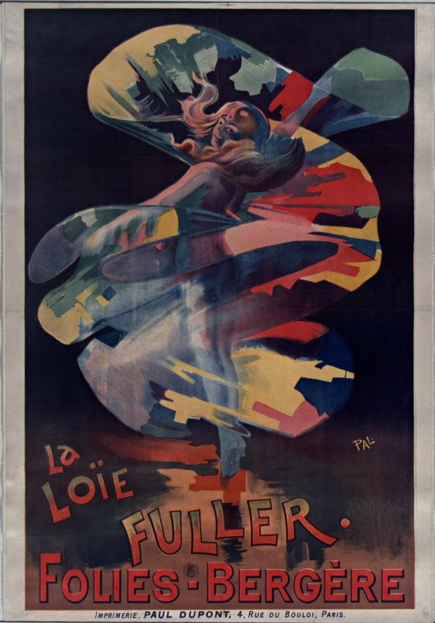 Poster for Loïe Fuller at the Folies-Bergère, 1897. Illustrator: Pal. National Library of France. Public Domain.