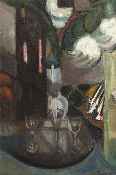 a-still-life-with-a-carafe-and-glasses-1913
