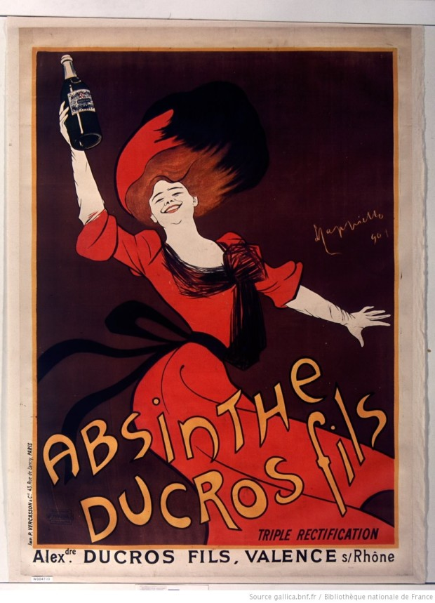 Poster for Absinthe Ducros fils, Leonetto Cappiello, 1901. BNF PD.