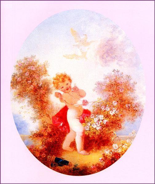 Jean-Honore Fragonard, Cupid Between The Roses