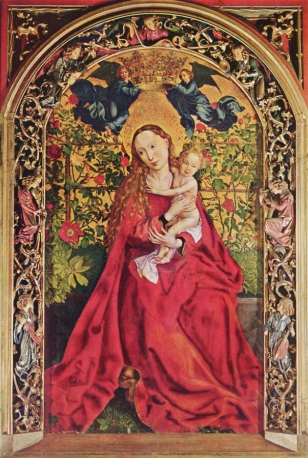 Madonna in the Rose Garden, Martin Schongauer, 1473, Saint Martin Church of Colmar.