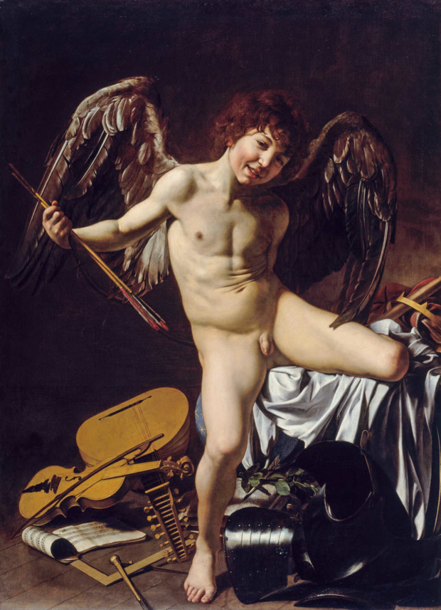 Cupid as Victor, Caravaggio, around 1601. Gemäldegalerie, National Museums in Berlin