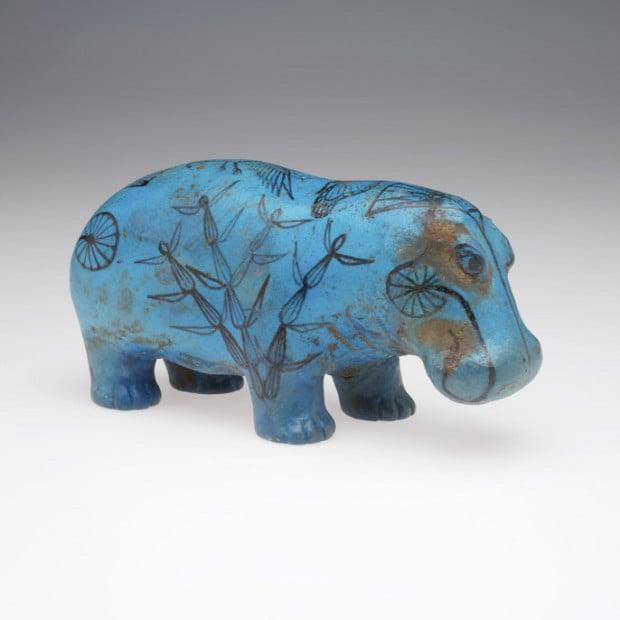 Blue Faience, Hippopotamus, 2040-1638 BCE, Risd Museum