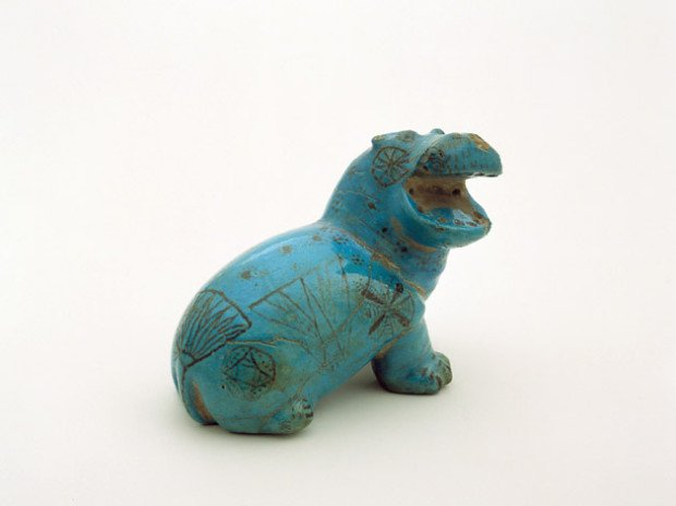 Blue Faience Hippopotamus, Middle Kingdom (XII-XIII Dynasty, 1850-1700 B.C.E., The George Ortiz Collection, Geneva, Switzerland