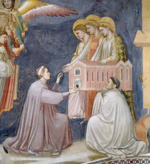 Giotto, the Last Judgement fresco, detail of Enrico Scrovegni presenting a model of the chapel to Mary, 1306-12, Scrovegni Chapel, Padova