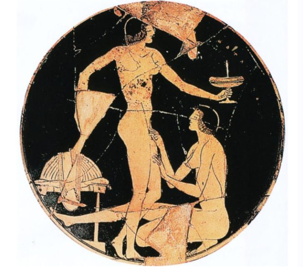 Lesbianism in art: Apollodoros, ceramic vessel, c. 515 – 495 BCE. Image from C. Reed, Art and Homosexuality: A History of Ideas, 2011.
