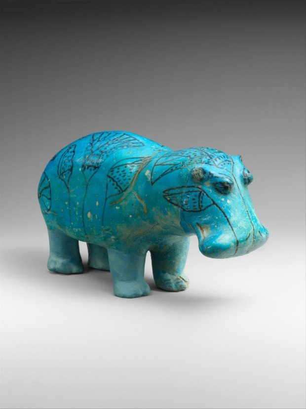 Blue Faience Hippopotamus, aka William, ca. 1961–1878 B.C., Metropolitan Museum of Art