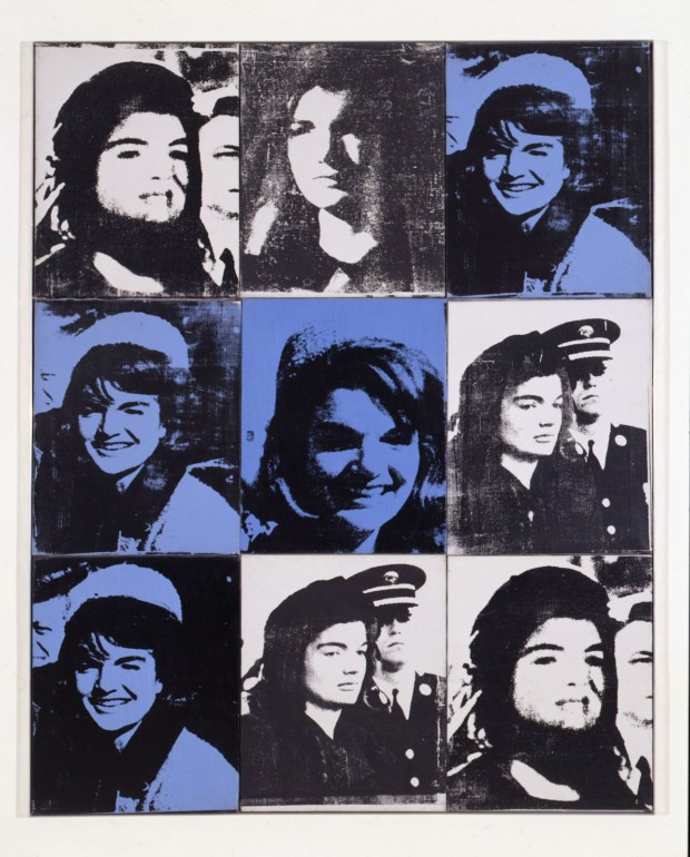 Andy Warhol, Nine Jackies. 1964, The Sonnabend Collection, on long-term loan to Ca' Pesaro, International Gallery of Modern Art, Venice, Italy, Nina Sundell and Antonio Homem,© 2014 The Andy Warhol Foundation for the Visual Arts, Inc.
