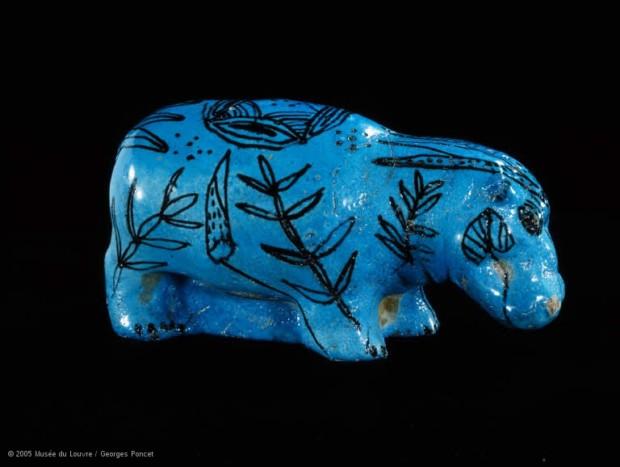 Blue Faience Hippopotamus, circa 3800 - 1710 BC, Musee du Louvre