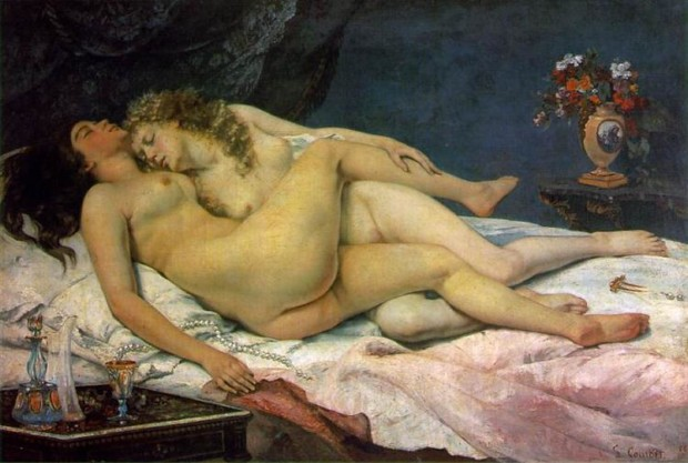 Lesbianism in art: Gustave Courbet, The Sleepers (Le Sommeil), 1866, Petit Palais, Paris, France.