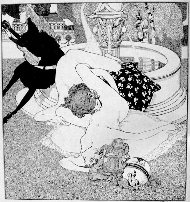 lesbianism in art: Franz von Bayros, The Serenade (But Later We Will Play Something More Innocent), the series La Grenouillere, 1907
