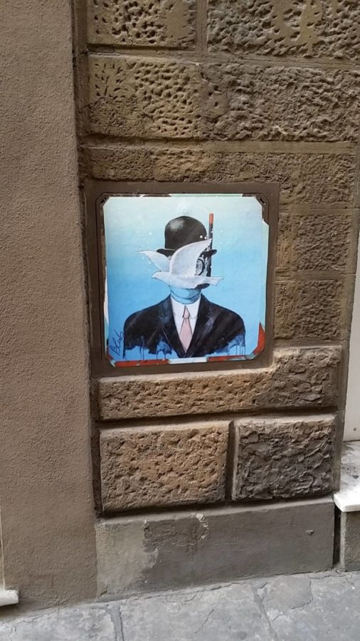 Blub, Street art inspired by Magritte, Florence, Italy.