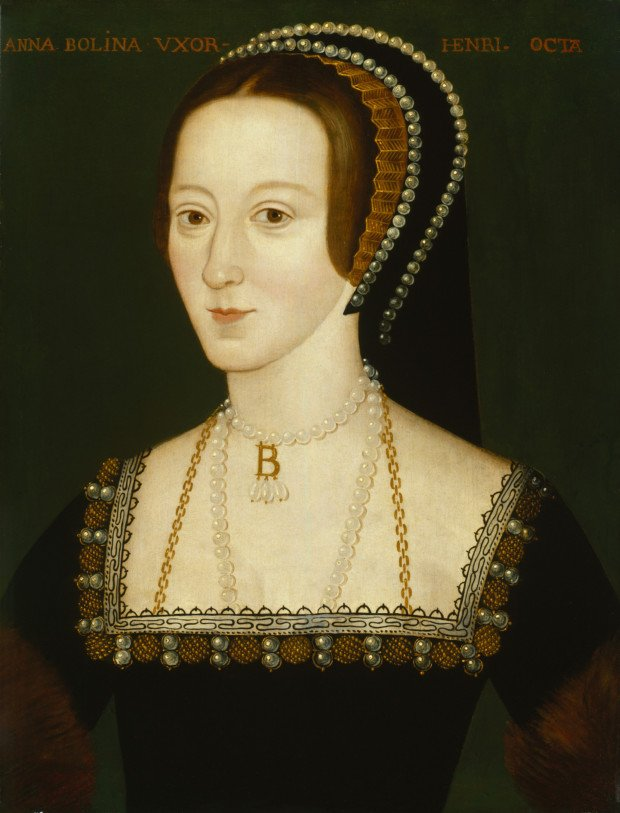 Late Elizabethan portrait of Anne Boleyn, possibly derived from a lost original of 1533–36, 1570, National Portrait Gallery, London wives henry VIII