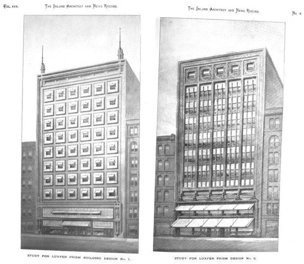 Wright's sample designs for the Luxfer office building. frank lloyd wright glass