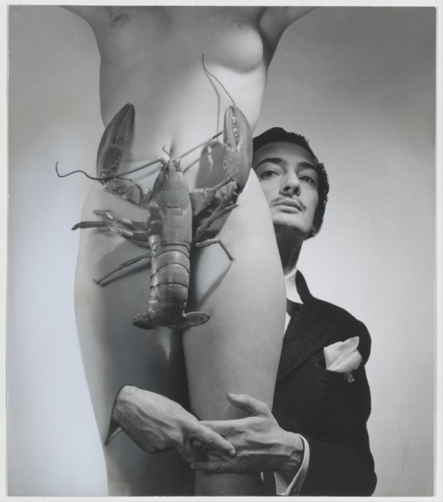 Naked women with lobsters