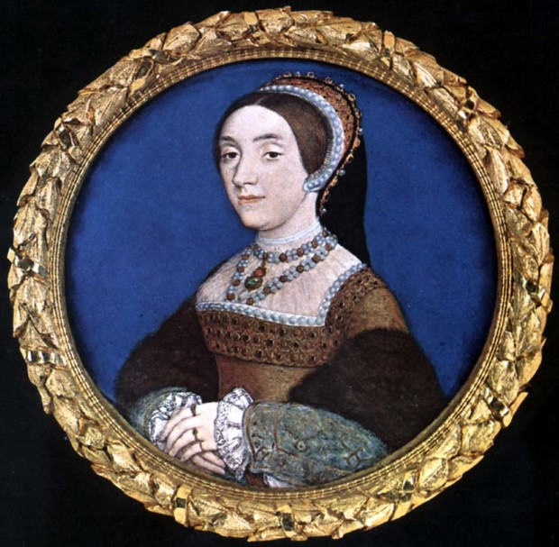wives Henry VIII: Hans Holbein, Portrait miniature of Catherine Howard, c. 1540, Buccleuch Collection, Strawberry Hill House, Twickenham, UK.