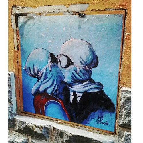 Blub, Street art inspired by Rene Magritte, Florence, Italy.