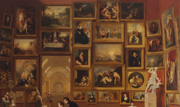 (detail) Samuel F. B. Morse, Gallery of the Louvre, 1831–33, Oil on canvas, 73 3/4 x 108 in. (187.3 x 274.3 cm) Terra Foundation for American Art, Daniel J. Terra Collection, 1992.51