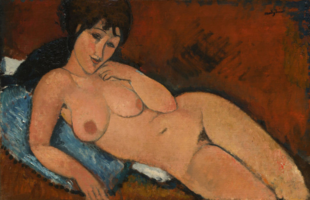 Amedeo Modigliani, Nude on a Blue Cushion, 1917, National Gallery of Art, Washington nudes modigliani nudes