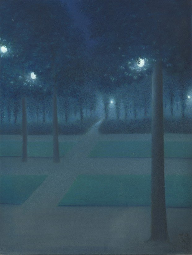 William Degouve de Nuncques, Nocturne at Parc Royal in Brusells, 1897, Pastel, 65 x 50 cm, Paris, musée d'Orsay, © RMN-Grand Palais (musée d'Orsay) / Hervé Lewandowski