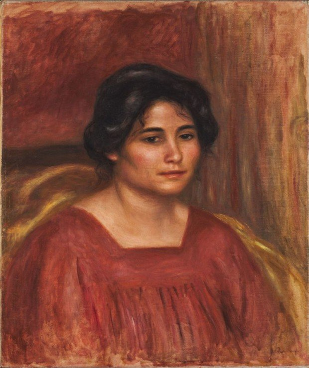 Pierre-Auguste Renoir, Gabrielle in a Red Dress, 1908, Harvard Art Museum Red Dresses Art