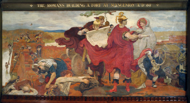 Ford Maddox Brown, The Romans Building a Fort at Mancenion, 1893, Manchester Town Hall manchester